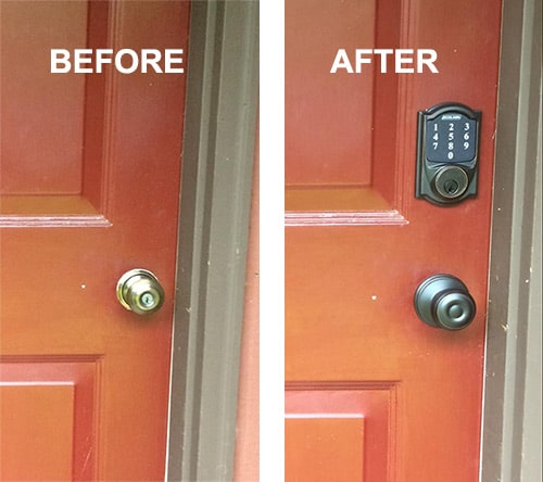 image of a residential front door with a plan door lock and AFTER with a Schlage Smart Lock and new doorknob installed
