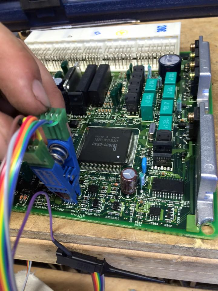 image of an on-board car computer being programmed