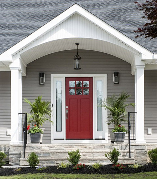 image of a red residential door